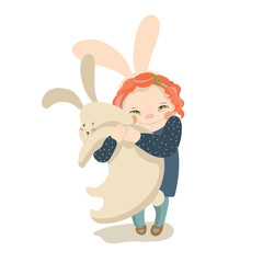 cute girl with bunny vector illustration
