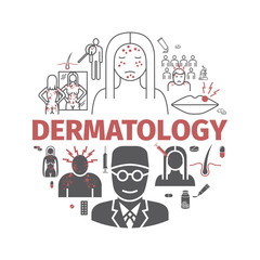 Dermatology banner. Line icons set. Vector signs for web graphics.