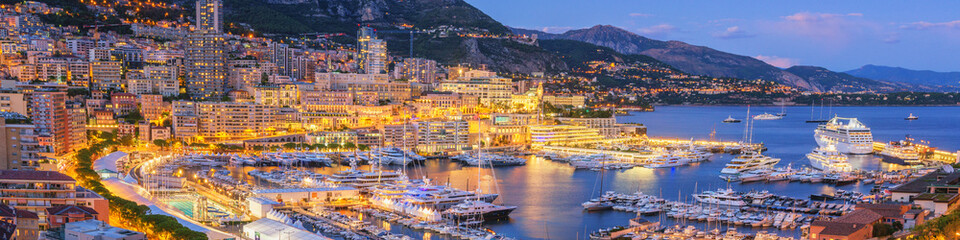 Monaco Panoramic View at Dusk Wall mural