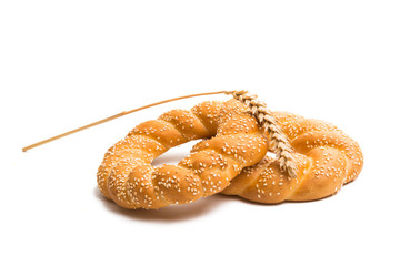 Bagel with sesame seeds isolated