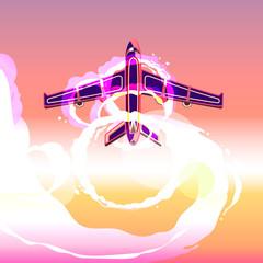 plane take off sunset vector illustration