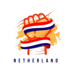 Hand and Flag Netherland Vector Template Design Illustration