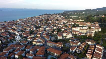 Aerial view of Pefkochori, Kassandra peninsula, Greece