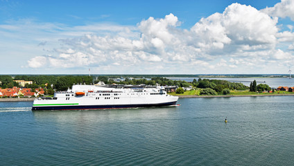 Modern ferry enters the port of Rostock. The ferry line connects the German port of Rostock with Gedser in Denmark.