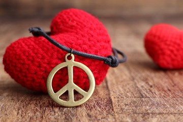 Peace symbol leather necklace