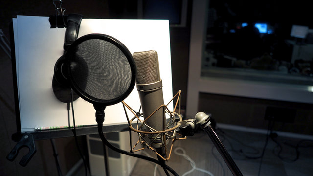Microphone with pop filter and shock mount