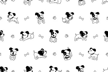 Vector cartoon character jack russell terrier dog seamless pattern for design.