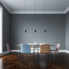 Gray dining room interior, pastel chairs