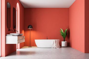 Luxury red bathroom interior