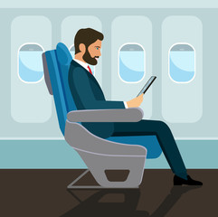 Passenger man  sitting in chair and  using tablet in airplane. Vector flat style illustration