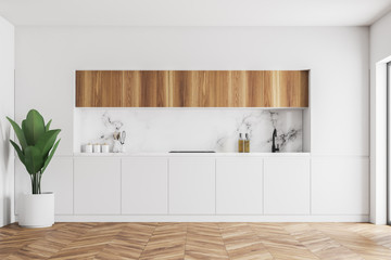 White and wooden kitchen countertops