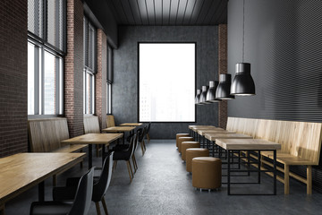 Upscale loft restaurant interior, window
