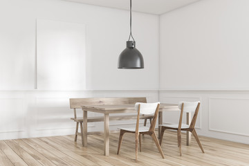 White table dining room corner, lamp