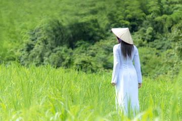 Asian women with Ao-Dai Vietnam traditional dress costume woman walking in the green meadow.