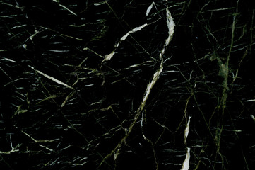 Black marble texture with natural pattern of light veins, for background or tile