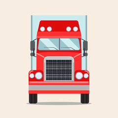 Big truck with trailer. Front view. Vector flat illustration