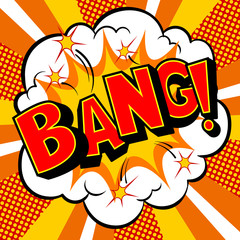 Bang word comic book pop art vector illustration