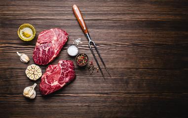 Raw marbled meat steak Ribeye