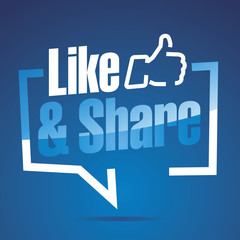 Like and Share blue white sticker icon