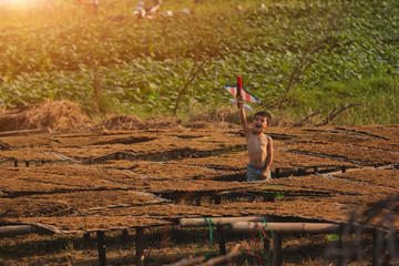 Children playing toy planes at the tobacco garden.