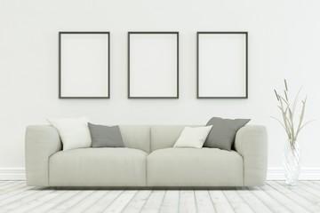 White sofa in modern scandinavian design with three Frames