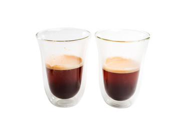 coffee in glasses isolated