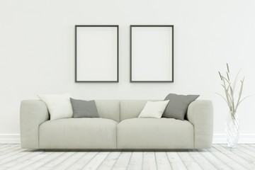 White sofa in modern scandinavian design with two Frames