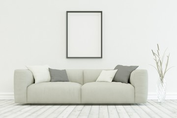 White sofa in modern scandinavian design with one Frames