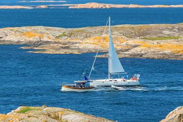 Boats in the rocky coastal scenery