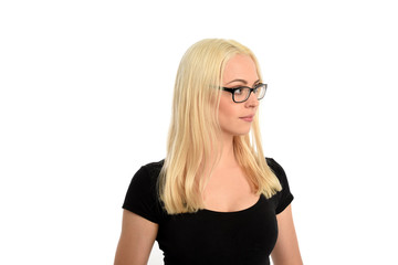 portrait of pretty blonde girl wearing glasses and black shirt. isolated on white background.