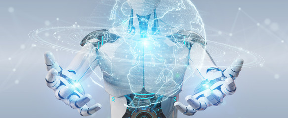 White robot using globe network hologram with America Usa map 3D rendering