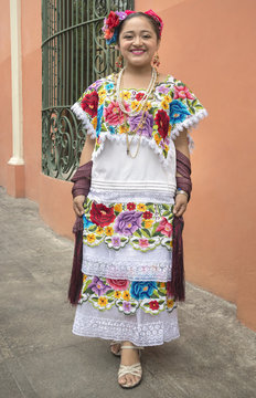 Colorful Mayan girl in Yucatan