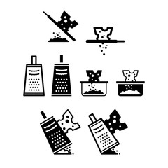 Cheese grater kitchen utensil icon set
