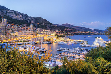 Fototapete - Monaco Yacht Port at Dusk