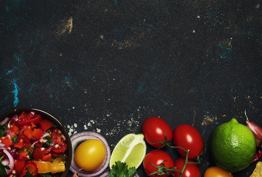 Tex-Mex Concept, Salsa Sauce, Tomatoes, Red Onion and Lime, Food Background, Top View