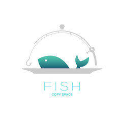 Fish and plate in Fishing rod curve frame food cover shape, logo icon set design illustration isolated on white background with Fish text and copy space