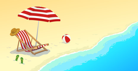 Beautiful summer landscape with azure sea or ocean and a bright chaise longue, hat, beach ball and sandals on a sandy beach
