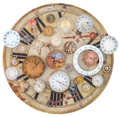 Collection of vintage rusty watches and clock parts