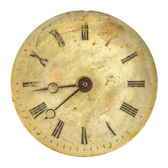 Ancient weathered clock face with faded numbers