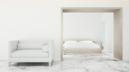 Bedroom and living area in hotel or home - Interior simple design on white tone for artwork bedroom - 3D Rendering