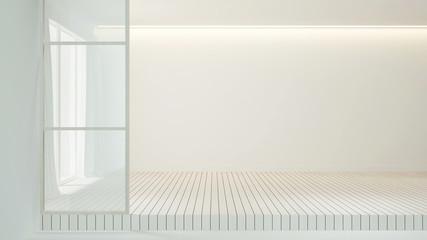 Empty room white wood floor decoration design for interior artwork - White empty room  interior simple design - 3D Rendering