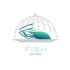 Prawn and plate in Fishing net curve frame food cover shape, logo icon set design illustration isolated on white background with Fish text and copy space