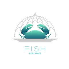 Crab and plate in Fishing net curve frame food cover shape, logo icon set design illustration isolated on white background with Fish text and copy space
