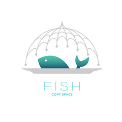 Fish and plate in Fishing net curve frame food cover shape, logo icon set design illustration isolated on white background with Fish text and copy space