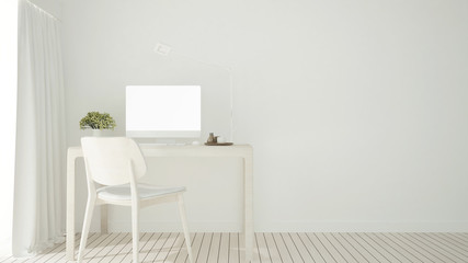 White study room in home or condominium - Workplace simple design on white tone for apartment or hotel artwork - 3D Rendering