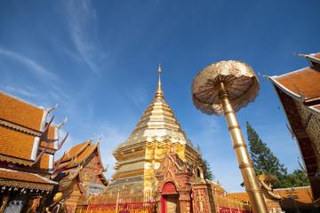 Wat Phra That Doi Suthep during day time summer season in Chiangmai, Thailand.