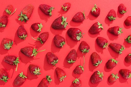 Fresh summer strawberries on red background