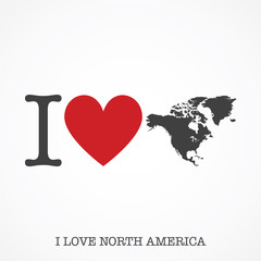 I love North America. Heart shape national country map icon