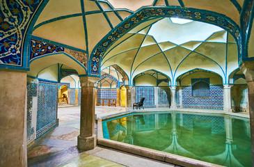 The tiled decors of Ganjali Khan Bathhouse, Kerman, Iran