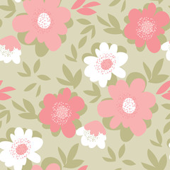 Pastel vintage color flower seamless pattern